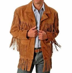 NEW Mens Western Cowboy wear Brown Suede Leather Jacket with