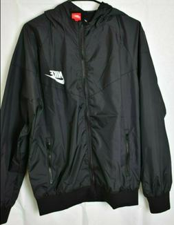 NWT Black Nike Windbreaker Jacket Zipper Running Nylon Men