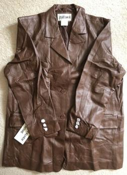 NWT KING SIZE Mens Brown Leather 2 Button 1 Vent Car Coat Ja