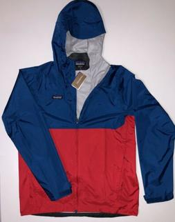 NWT Patagonia Torrentshell H2no Mens blue fire red Hooded Ja