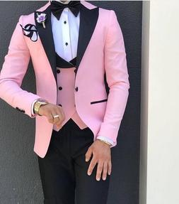 Pink With Black Lapel Suits for <font><b>Men</b></font> Cust