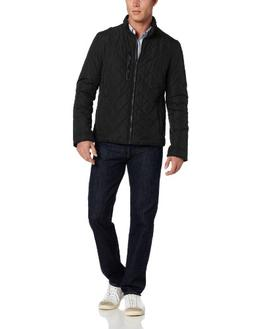 Cole Haan Men's Quilted Jacket with Leather Details, Black,