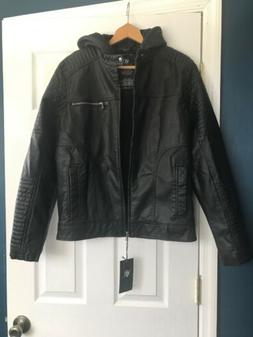 Rock  and Republic  Mens Small Black Leather Jacket With Hoo