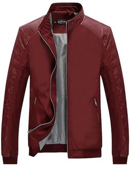 Tanming Men's Color Block Slim Casual Thin Lightweight Jacke