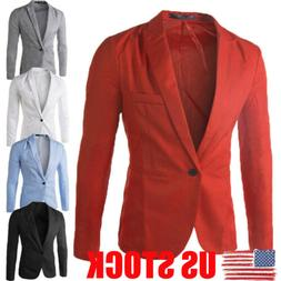 US HOT Mens Men Casual Slim Fit Formal One Button Suit Blaze