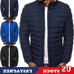 US Men Coat Lightweight Jacket Slim Fit Puffer Coats Zipper