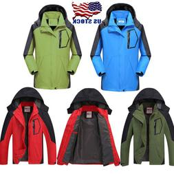 US Mens Jacket Waterproof Camping Hiking Coat Rain Fishing S