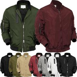 Mens BOMBER Jacket  MA-1 Windbreaker Active Fashion Slim Bik
