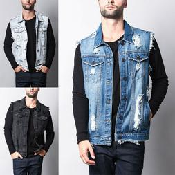 Victorious Men's Washes Distressed Denim Vest Sleeveless Jac