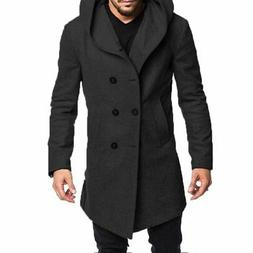 Winter Fashion Men's Wool Coat Warm Trench Coat Outwear Over