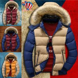 Winter Mens Warm Quilted Duck Down Padded Bubble Puffer Hood